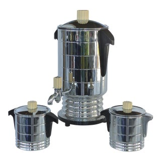 1960s Vintage General Electric Chrome Coffeemaker, Cream & Sugar - Set of 3 For Sale