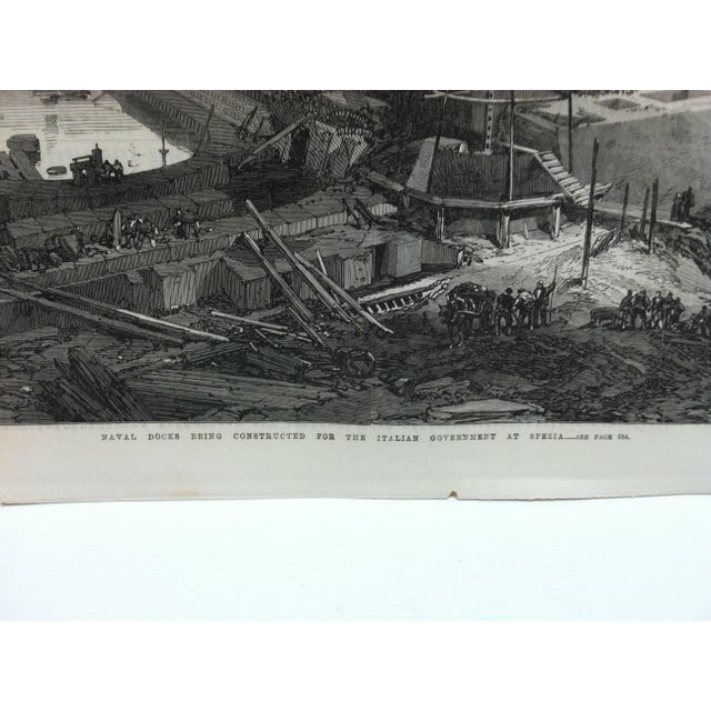 """English 1867 Antique """"Naval Docks Being Constructed for the Italian Government at Spezia"""" The Illustrated London News Print For Sale - Image 3 of 5"""