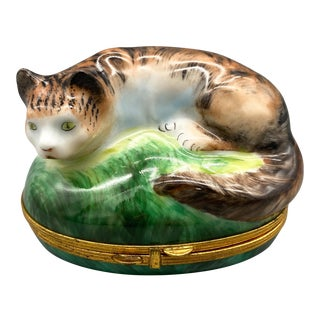 20th Century French Limoges Hand Painted Porcelain Cat Trinket/ Pill Box For Sale