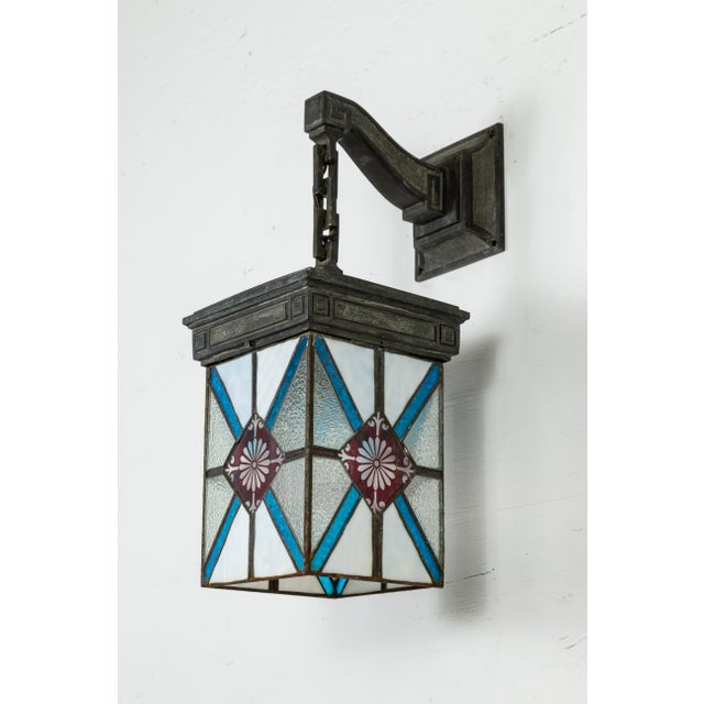 Blue, White & Deep Red Stained Glass & Bronze Lantern Sconce For Sale - Image 12 of 12