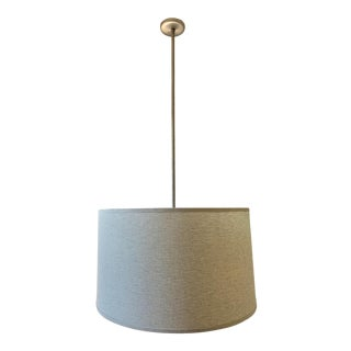 Custom Linen Stripe Closed Drum Shade Pendant Light For Sale