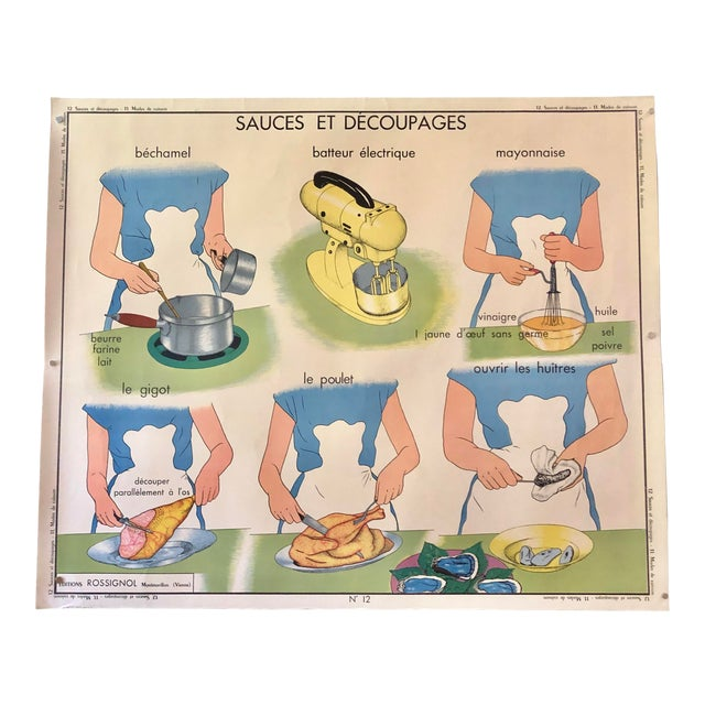 1950s Vintage French Home Cooking School Poster For Sale
