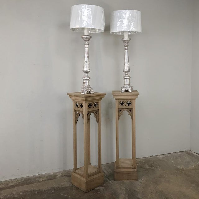 Pair 19th Century Gothic Stripped Oak Pedestals For Sale - Image 10 of 11