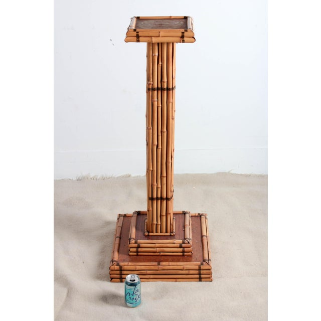 Vintage Bamboo Pedestal Plant Stand For Sale - Image 4 of 8