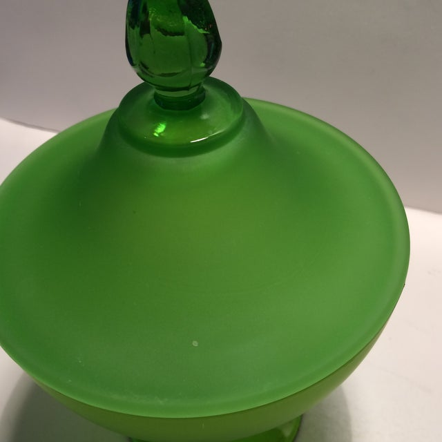 1940's Vintage Green Westmorland Green Glass Candy Dish For Sale - Image 10 of 11