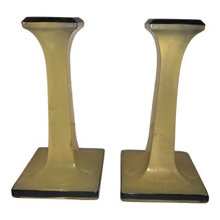 Vintage Mid-Century Modern Yellow and Black Candlesticks Find - a Pair For Sale