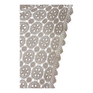 "Vintage French Hand-Made Crochet Lace Coverlet Curtain / Drape - 86"" x 97"" For Sale"
