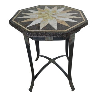 Octagonal Travertine & Iron Side Table W/ Star Design For Sale