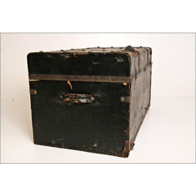 Vintage Industrial Black Steamer Trunk - Image 4 of 11