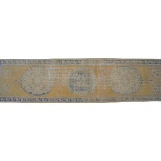 "Distressed Oushak Rug Runner Low Pile Faded Colors Runner - 2'11"" X 12' For Sale"