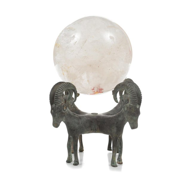 Rock Crystal Globes on Bronze Stands - A Pair For Sale - Image 4 of 9