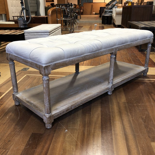 Design Plus Gallery presents a Saverne Tufted Bench by Ballard Designs. A great bench to place in your entry or family...