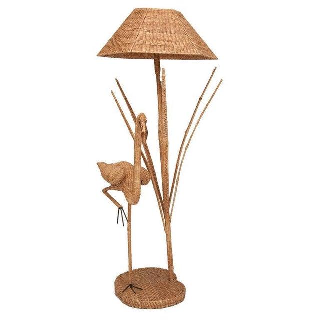 Mario Lopez Torres Flamingo Wicker Floor Lamp with Bronze Accent.