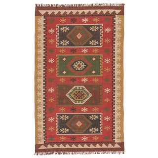 Jaipur Living Amman Handmade Geometric Red/ Gold Area Rug - 8′ × 10′ For Sale