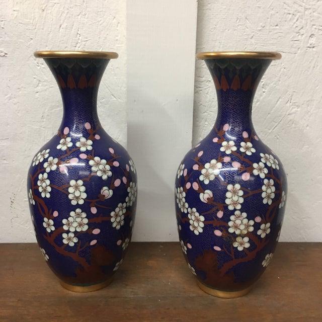 Cloisonné Vintage Vases - A Pair - Image 2 of 8