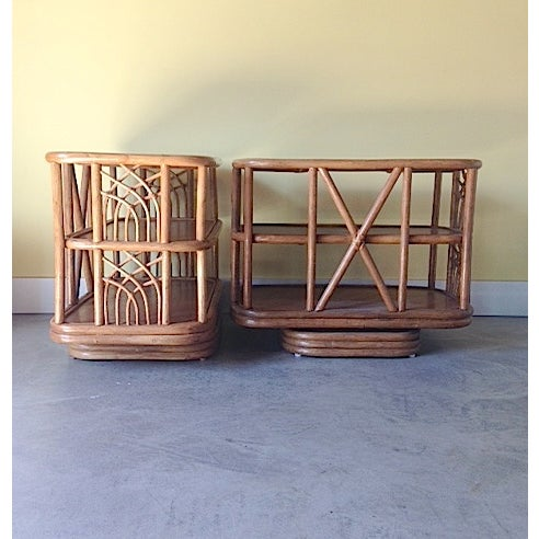 Mid Century Bamboo Swiveling End Table - Pair - Image 3 of 4