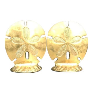 Brass Sand Dollar Bookends - a Pair For Sale