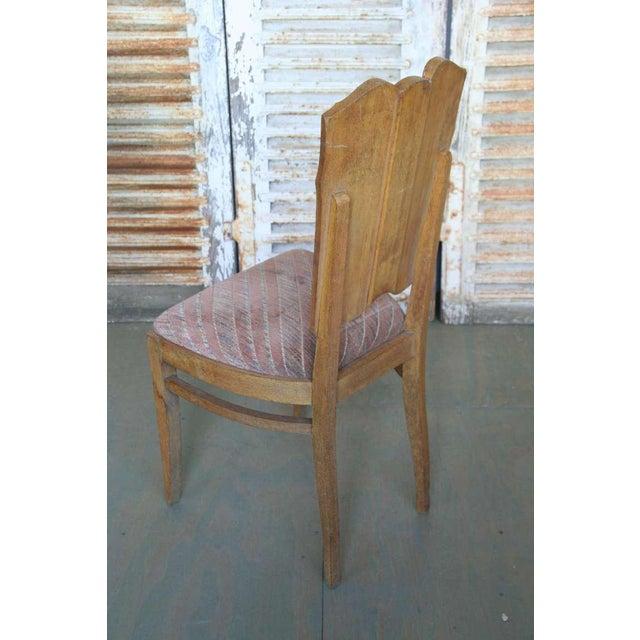 Set of Six Linen Fold Oak Side Chairs - Image 7 of 8