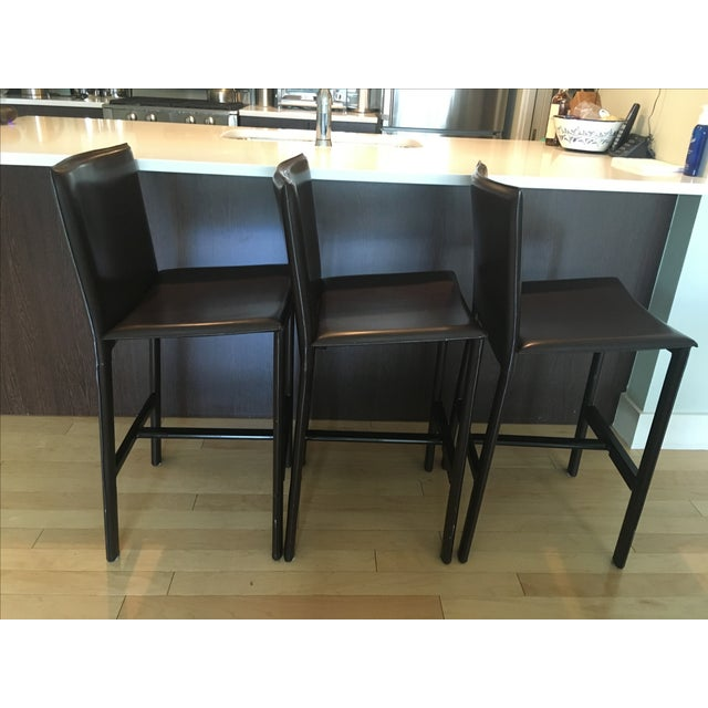 RH Brown Leather Counter Stools - Set of 3 - Image 5 of 6