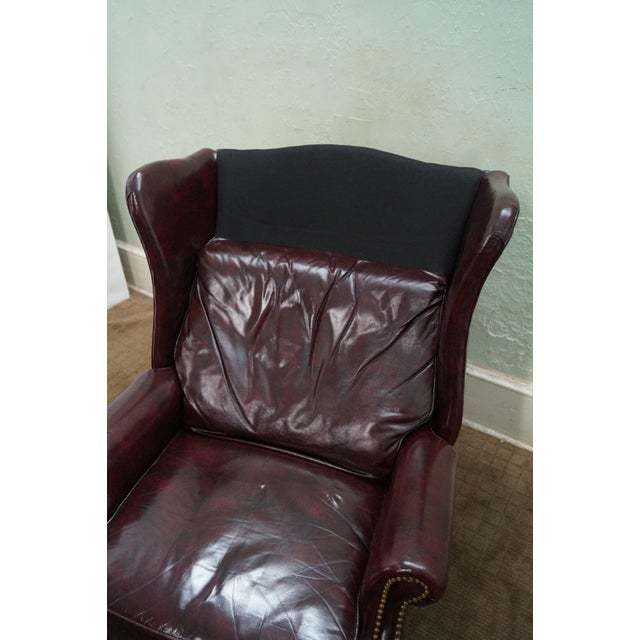 Quality Oxblood Leather Chippendale Wing Chair - Image 8 of 10