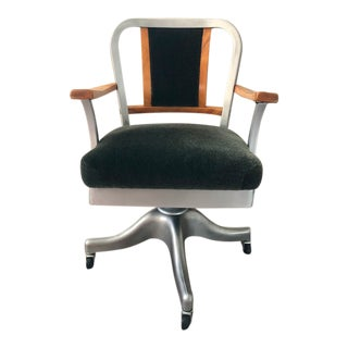 Mid Century Shaw Walker Aluminum Wood Propeller Desk Chair For Sale