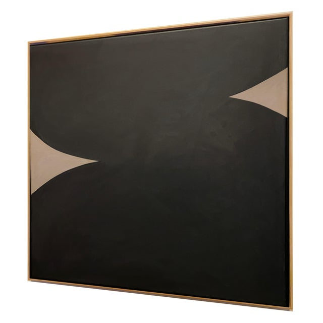 Contemporary Contemporary Minimalist Monochromatic Acrylic Gouache Painting by Brooks Burns, Framed For Sale - Image 3 of 5