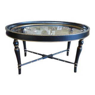 Vintage Neoclassical Oval Style Coffee Table For Sale