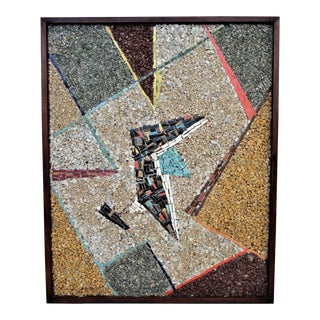 Vintage Cubist Abstract Tile Mosaic and Stone Wall Sculpture Mid Century Modern MCM