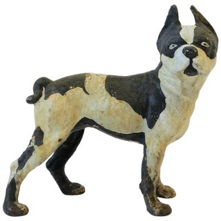 Black and White Cast Iron Boston Terrier Dog Sculpture or Doorstop For Sale