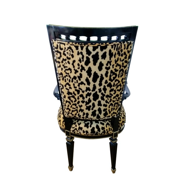 Antique Leopard Velvet and Black Lacquered Occasional Chairs- a Pair For Sale - Image 4 of 6
