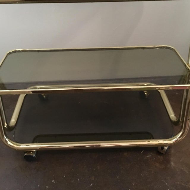 Morex Italian Modern Glam Brass and Smoked Glass Bar Cart, Trolley or Server - Image 4 of 9