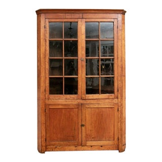 18th Century American Federal Cherry Corner Cabinet With Glazed Doors For Sale