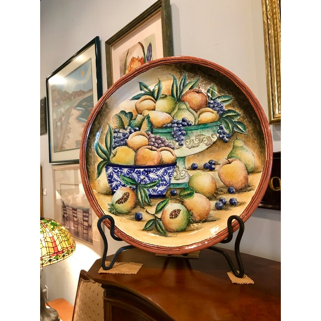1990s 1990s Vintage Hand Painted Majolica Platter For Sale - Image 5 of 5