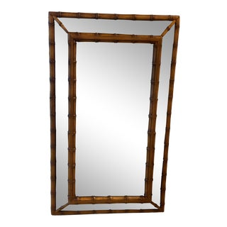 Vintage Palm Beach Chinoiserie Chinese Chippendale Faux Bamboo Wall Mirror For Sale