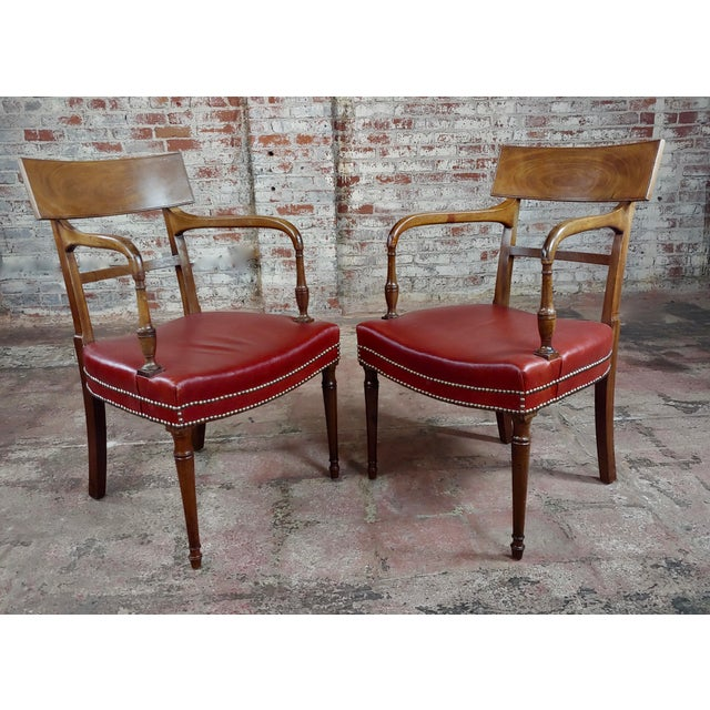 English Traditional 1820s Vintage George IV Mahogany Arm Chairs-Set of 4 For Sale - Image 3 of 10