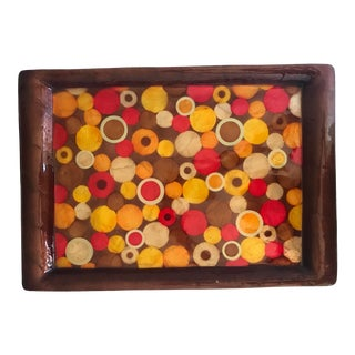 Mid-Century Geometric Design Mother of Pearl Tray For Sale