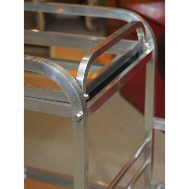 French Art Deco Aluminum Drinks Trolley with Removable Tray-Style of Adnet For Sale In New Orleans - Image 6 of 8