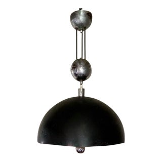 Mid Century Chrome and Black Pendant, Chandelier Lamp For Sale