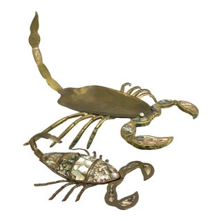 Los Castillo Mexican Brass and Abalone Scorpions - a Pair