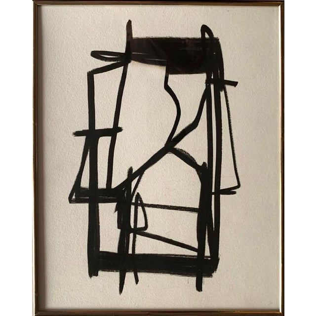Original Abstract Black and White Painting, Framed For Sale - Image 4 of 4