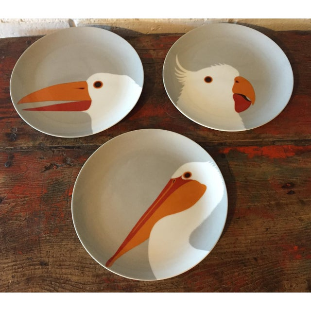 Set of three plates in the Birds of a Feather collection by Fitz & Floyd and made exclusively for Neiman Marcus. All in...