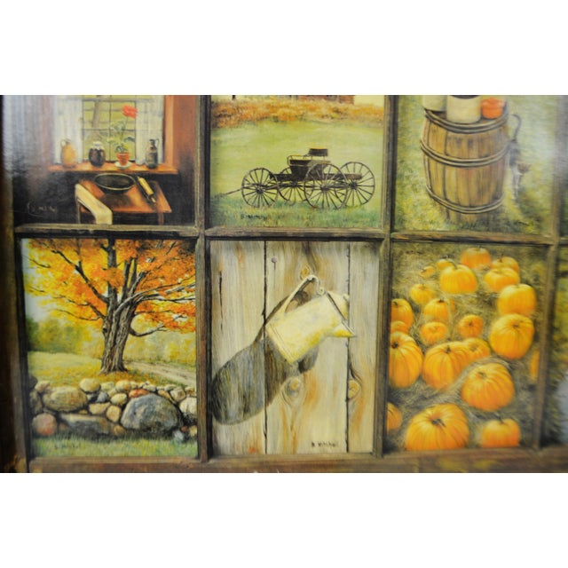 Vintage Home Interior 12 Panel Rustic Window Pane Picture Prints by ...