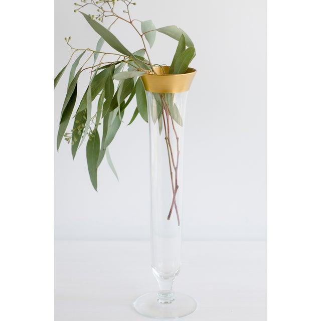 Vintage Gold Rimmed Narrow Vase - Image 5 of 5