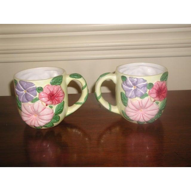 Cottage Vintage Colorful Glazed Earthenware Mugs - Set of 8 For Sale - Image 3 of 7