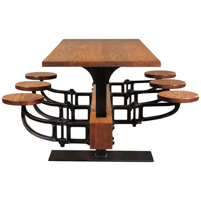 Industrial Swing-Out-Seat Cafe Table For Sale