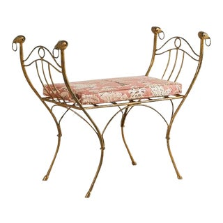 French Gilt Bench With Ram's Head Motif For Sale