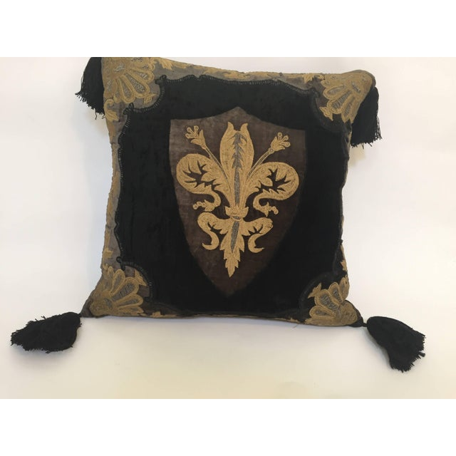 Moroccan Black Silk Decorative Pillow With Gold Metallic Threads and Tassels For Sale - Image 10 of 10