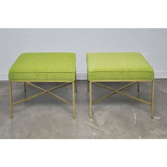 Brass X-Base Stools by Paul McCobb- A Pair For Sale In Chicago - Image 6 of 7