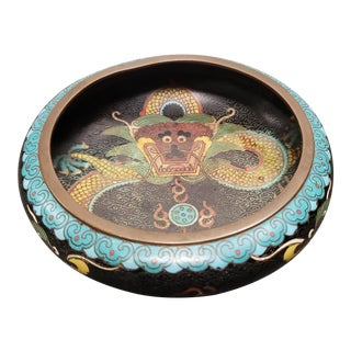 Late 19th Century Chinese Cloisonne Brass Imperial Dragon Motif Brush Washer Bowl For Sale