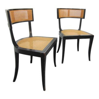 Micheal Taylor for Baker Ebonized Klimos Caned Dining Chairs - a Pair